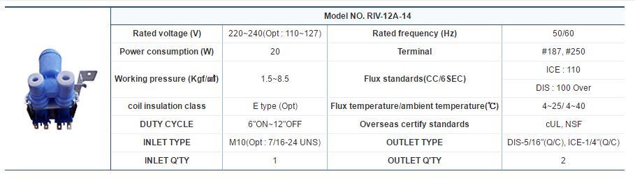 2 Ways useong Refrigerator Water Valve Model NO.RIV-12A-14