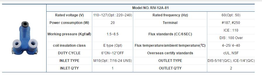 2 Ways Refrigerator Water Valve Model NO.RIV-12A-81