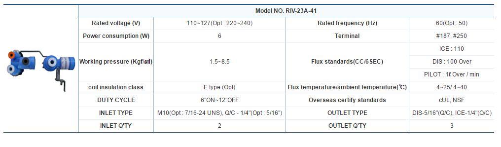 3 Ways Refrigerator Water Valve Model NO.RIV-23A-41